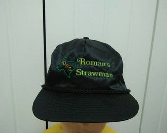 Rare Vintage DKG ROMAN'S STRAWMAN Embroidered Spell Out Cap Hat Free size fit all