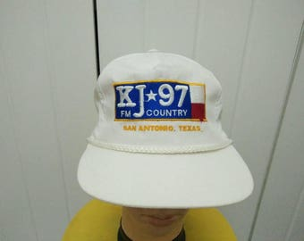 Rare Vintage KJ 97 FM COUNTRY San Antonio, Texas Embroidered Spell Out Cap Hat Free size fit all
