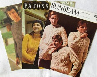 3 Vintage Knitting Patterns for Men's, Women's & Children's Aran V-neck, Polo Neck and Round Neck Sweaters (122)