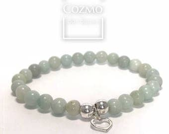 Bracelet en Amazonite vert - pierres semi précieuses (6mm) avec argent 9.25