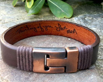 Mens Personalized Handwritten Leather Bracelet, Loved Ones Actual Handwriting or Signature Hidden Message Bracelet, Wife to Husband Gift
