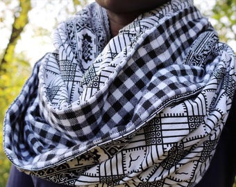 African Print and Plaid Infinity Scarf // Black and White Circle Scarf // Black and White Buffalo Plaid // African Wax Print Scarf