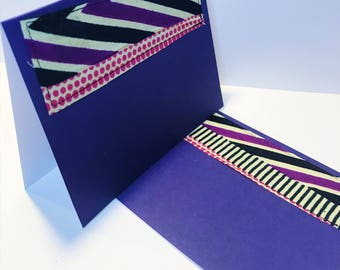 African Print Greeting Card // Purple Blank Card // Handmade Fabric Greeting Card // With Envelope