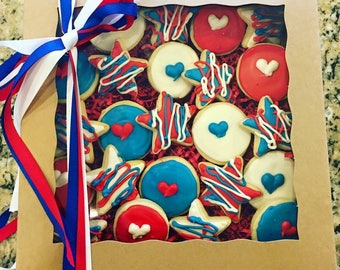 Red White and Blue 4th of July Mini sugar cookies