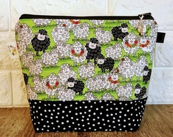 Knitting Project Bag, Sheep Knitting Bag, Knitting Pouch, Sock Project Bag, Knitting Bag, Knitting Accessory,Project Bag Zipper