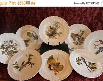 "Christmas in July Sale Set of 8 Alfred Meakin Birds of America 9"" Plates - Endorsed by National Audubon Society New York"