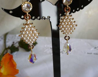 Earrings Crystal beads and white