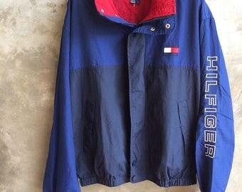 Vintage Tommy Hilfiger Blue Jacket Hilfiger Spell Out Size Size L