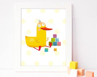 children's wall art - baby nursery - playroom printable - wall art decor - digital print - kid's room decor - colorful poster - duck picture