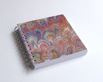 "Notebook 4x4"" decorated with motifs of marbled papers - 30"