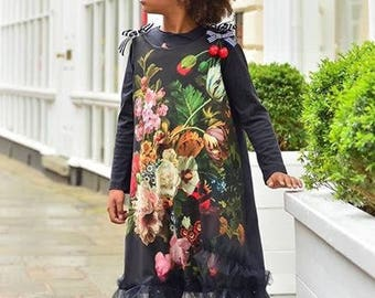 Folka floral girls dress, party dress, cool dress. Comfortable dress.