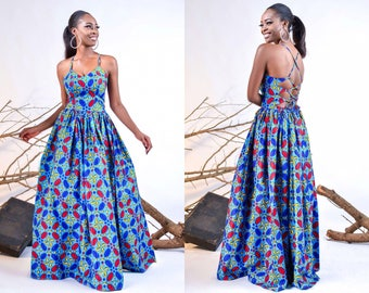 Jedidah backless maxi dress (blue)