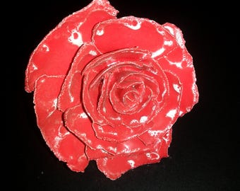 Ceramic red rose sculpture