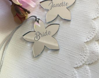 Personalised Silver Mirror Flowers - Wedding Party Favours - Wedding Table -  Place Settings - Keepsake - Birthday Gift Tags - Organza bags