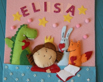 3D picture in felt customizable with name - sweet fairy tale in felt - bedroom furniture