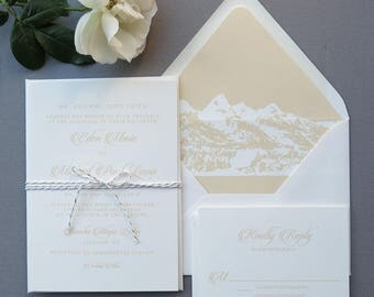 Mountain Wedding Invitation Suite - Mountain Lined Envelope - Ivory and Cream Wedding Invitations