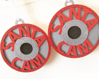 Santa cam baubles, glittery santa camera bauble, Christmas decoration, holiday season, Christmas tree decoration, Christmas decor, santa cam