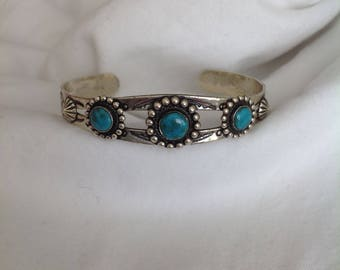 Vintage Fred Harvey Era Bell Trading Post Turquoise Sterling Silver Cuff Bracelet