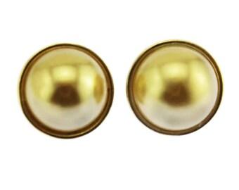 Joan Rivers Pearl Earrings, Joan Rivers Gold Stud Earrings, Gold Pearl Earrings