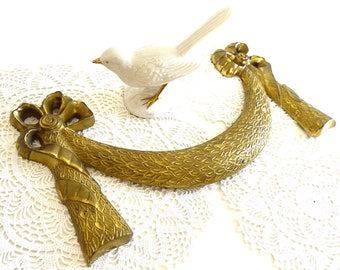 vintage brass swag wall decor golden swag architectural decor shabby chic swag decor