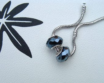 """Set of 2 faceted glass stone """"HEMATITE"""" pr CHARMS"""
