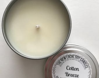 Cotton Breeze | 4 oz Scented Soy Candle Tin | Travel Tin | Fresh + Clean + Crisp + White + Light