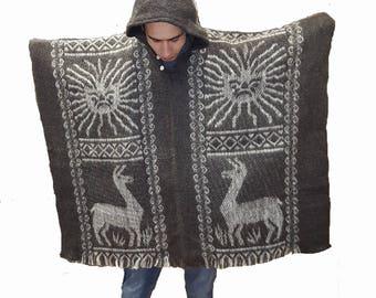 Hand made 100% wool Inca sun poncho grey