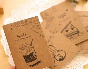 Bloc note book notebook kraft cute journal stationery stationery writing desk retro violin music gift notebook brown diary pages
