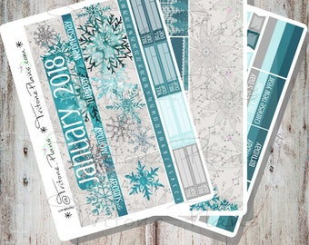 Snowflake || January 2018 Monthly Sticker Kit sized for Erin Condren Life Planner || MKit012-ec18-Jan
