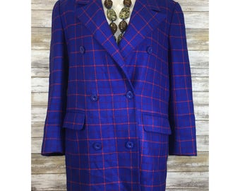 Vintage Carlisle MOD Blue Plaid Blazer Jacket 100% Wool Double Breasted Peacoat