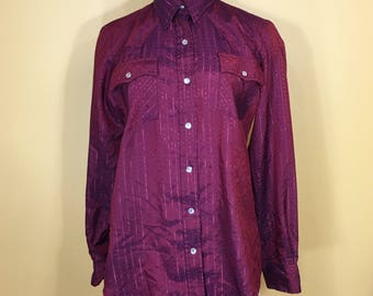 Vintage 70's 80's Chic by h.i.s. Maroon Southwestern Button Down Blouse