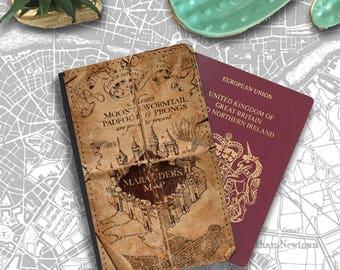 Marauders Map Hogwarts Wizard Wormtail Passport Holder Travel Flip Cover Case PT014