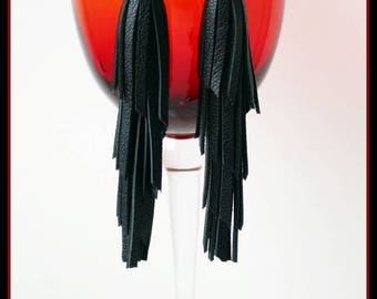 Leather tassel earrings.Tassel Earrings Leather,Fringe earrings,boho earrings, Black Tassel Earrings For Woman