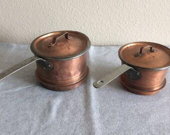 Vintage Swedish Copper Sauce Pans