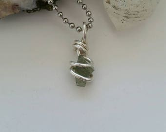 Moldavite Necklace, Wire Wrapped Pendant, Tektite, Meteor, Sterling Silver Jewelry, Crystal Healing, Consciousness, High Vibration, Intense