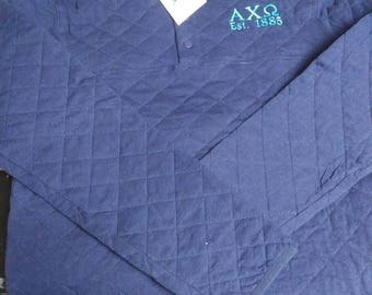Alpha Chi Omega embroidered quilted pullover