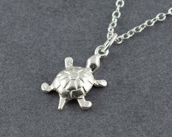 Turtle Necklace, Silver Turtle Necklace, Cute Necklace