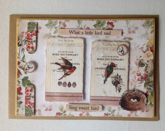 Double card, made hand 3D, birds, cabinet of curiosities