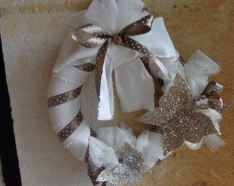 Christmas Wreath shabby chic white linen and glitter butterflies