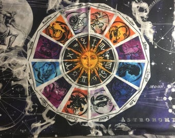 Large Sun/Moon Zodiac Sign Tapestry Altar Cloth Tarot Cloth **ADDED OPTIONS and INVENTORY **