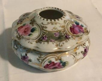 Antique Hand Painted Porcelain Hair Receiver Violets & Roses