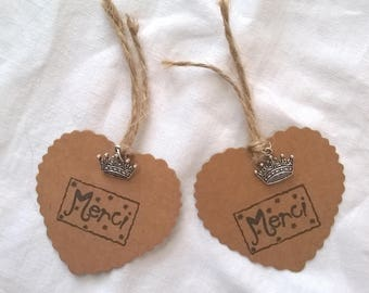 """2 """"Merci"""" tags in kraft with charm heart Crown"""