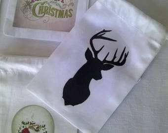 Mini bag fabric Christmas black deer