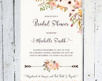 Bridal Shower Invitation, Boho Bridal Shower Invitation, Floral, Watercolor, Flowers, Rustic, Arrows, Printable, Printed