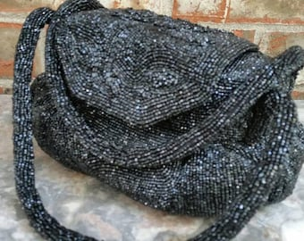 Vintage Whiting and Davis Fully Hand Beaded Top Handle Handbag Purse Evening Bag