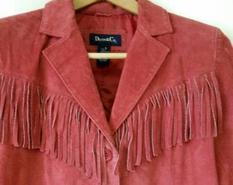 Annie Oakley Red Leather Fringed Jacket Coat Excl Cond