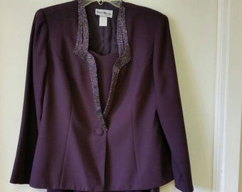 Deep Purple Violet Evening Gown and Jacket Accented with Beading Exceptional Condition