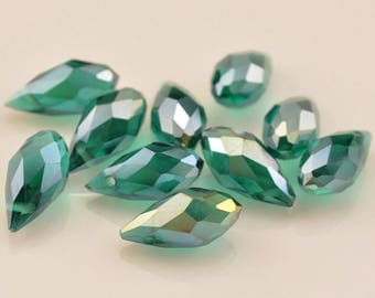 5 DROPS 12 * 6MM CRYSTAL - GREEN TRANSLUCENT BEADS