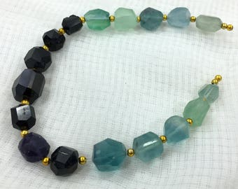 1 strand,Fluorite and black tourmaline beaded necklaceAY