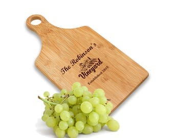 Personalized Vineyard Paddle Chopping Board - Custom Family Chopping Board - Cheese and Wine Board - Vineyard Cutting Board - New Home Gift
